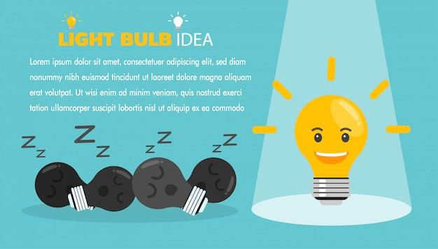 電球と明るいアイデアのコンセプト