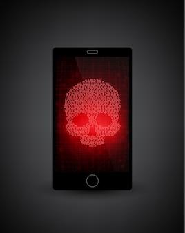 Сломанный смартфон. уведомление о вредоносном по на смартфоне. сообщение о вирусе, злонамеренное применение