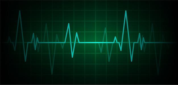 Монитор пульсации зеленого сердца с сигналом.