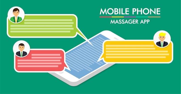 携帯電話のチャットメッセージ通知のベクトル、スマートフォン。