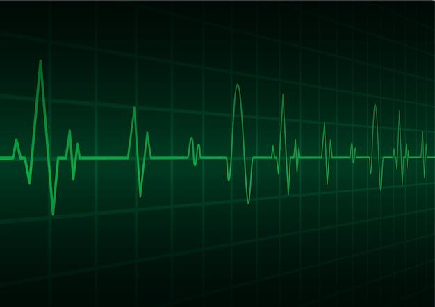 Монитор пульсации зеленого сердца с сигналом. сердцебиение. значок. электрокардиограмма