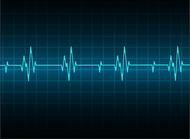 Синий сердечный импульсный монитор с сигналом. сердцебиение. значок. электрокардиограмма
