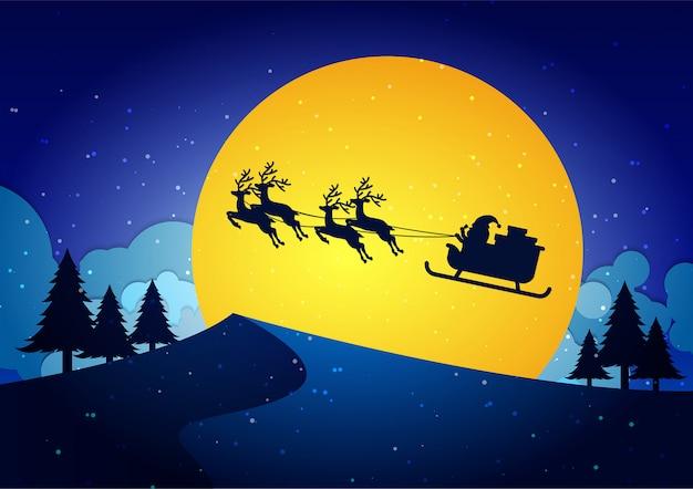 サンタクロースとブルークリスマスの背景