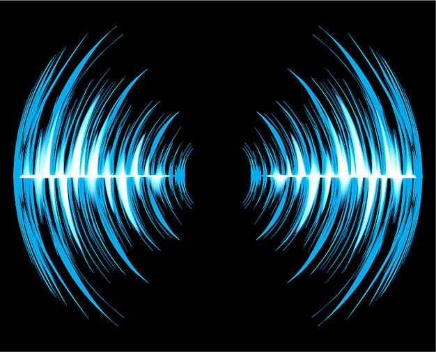 Звуковые волны, колеблющиеся темно-синий свет