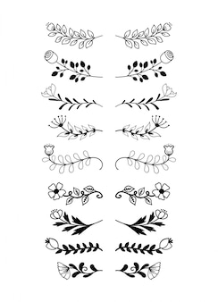 手描きの罫線要素セットコレクション、花の渦巻き模様飾りベクトル