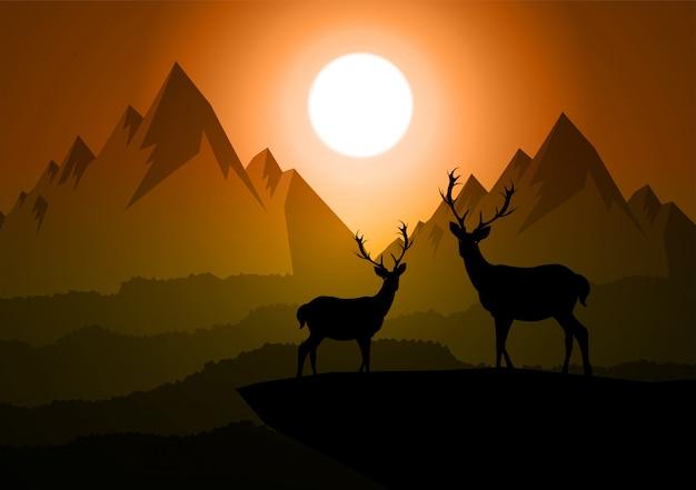 夜に松林を歩く鹿のイラスト。