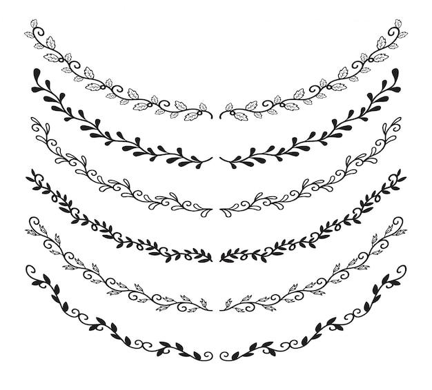 手描きの罫線の要素セット
