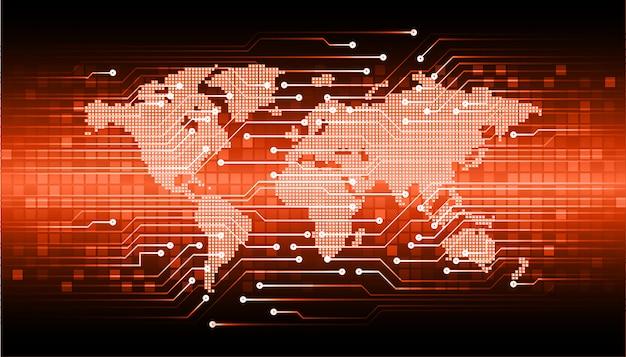オレンジ色の世界サイバー回路未来技術コンセプトの背景