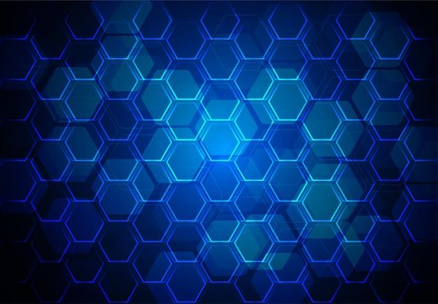 ブルーの抽象的な六角形の背景のベクトル