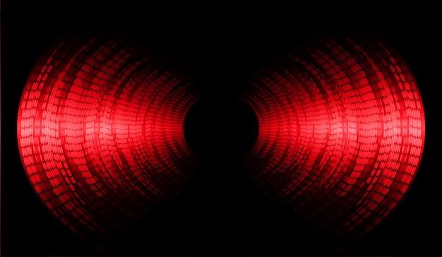 濃い赤色の光の背景を振動させる音波