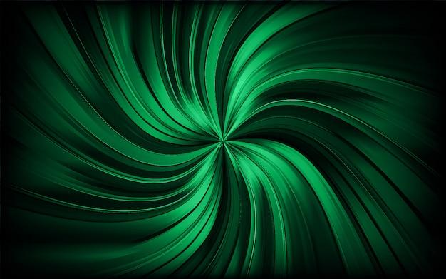 緑の抽象的な旋回コースまたはトンネル。輝く背景を回転させます。ベクター