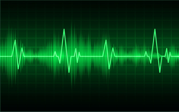 信号付きグリーンハートパルスモニター。ハートビート。心電図アイコン波
