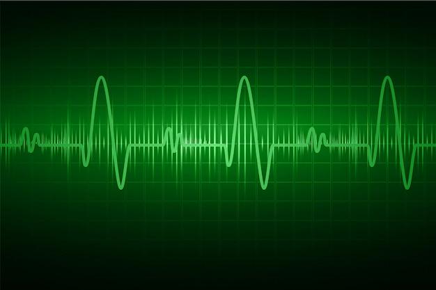 Монитор пульса зеленого сердца с сигналом. стук сердца. значок. электрокардиограмма