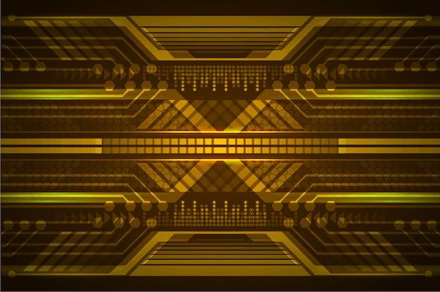 オレンジ色のサイバー回路未来技術コンセプトの背景