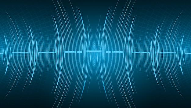 シグナル付きブルーハートパルスモニター。ハートビートの背景