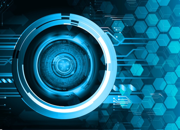 青い目サイバー回路将来の技術コンセプトの背景