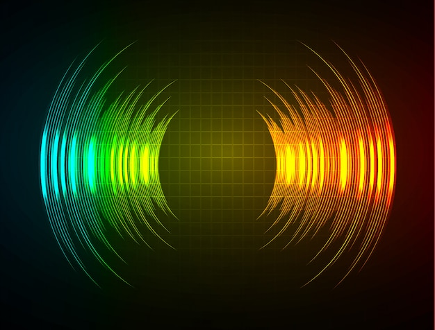 ダークブルーオレンジグリーンライトを振動させる音波