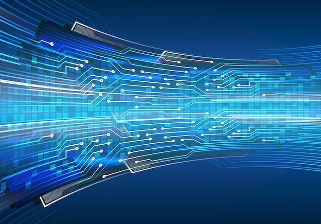 青いサイバー回路将来の技術コンセプトの背景