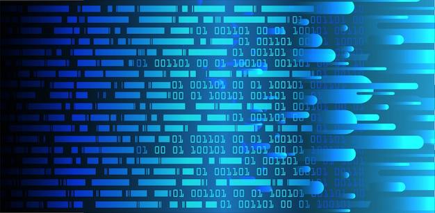 青いバイナリサイバー回路将来の技術概念の背景