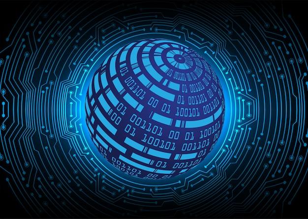 青い世界サイバー回路将来の技術コンセプトの背景