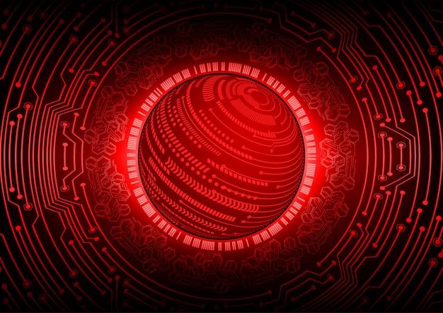 赤い世界サイバー回路の将来の技術概念の背景