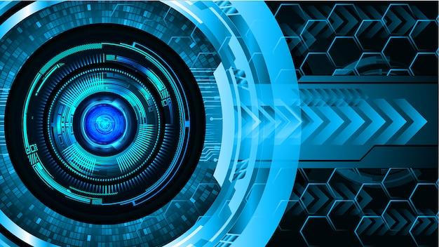Голубой глаз кибер цепи будущей технологии концепции фон