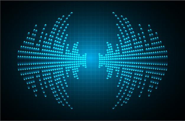 暗い青色の光の背景を振動させる音波