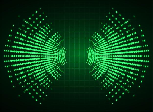 暗緑色の光の背景を振動させる音波