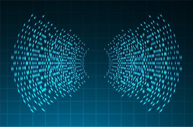 Звуковые волны, колеблющиеся на синем светлом фоне