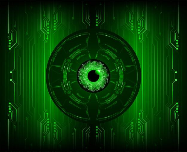 Зеленый глаз кибер цепи будущей технологии концепции фон