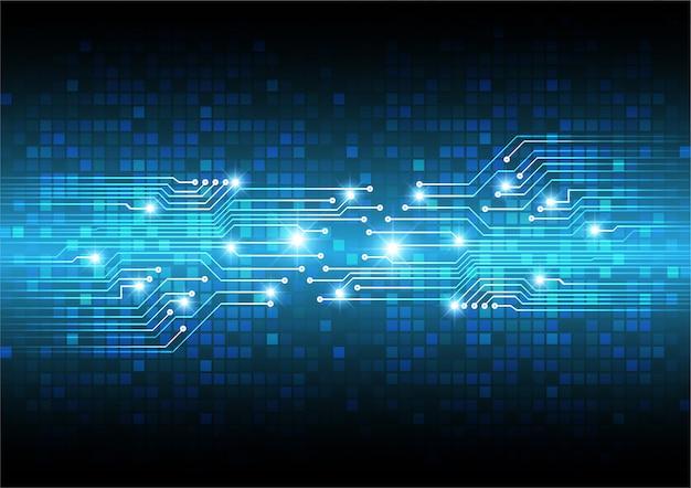 青いサイバー回路の将来の技術コンセプト