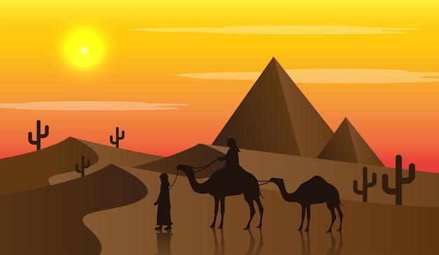 Верблюды в пустыне на закате