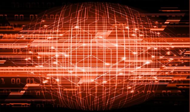 オレンジ色のサイバー回路の将来の技術概念の背景