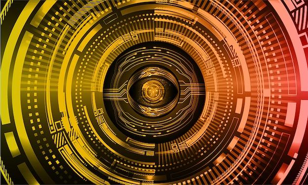 オレンジ色の目サイバー回路未来技術の背景