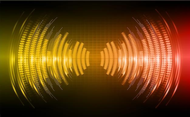 暗いオレンジ色の赤い光の背景を振動させる音波