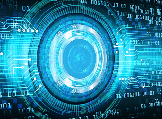 Голубой глаз кибер цепи будущей технологии фон
