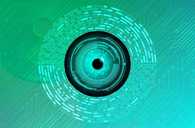 Концепция технологии будущего кибер цепи голубого зеленого глаза