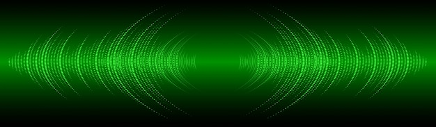 Звуковые волны колеблются темно-зеленый свет баннер фон