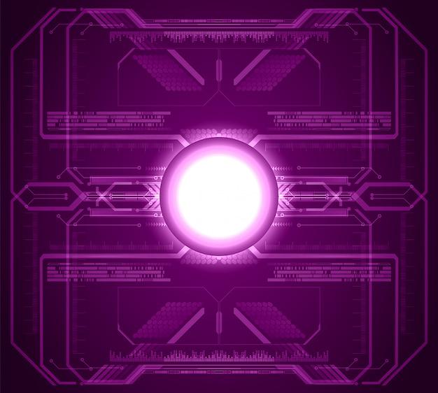 紫色のサイバー回路の将来の技術の背景