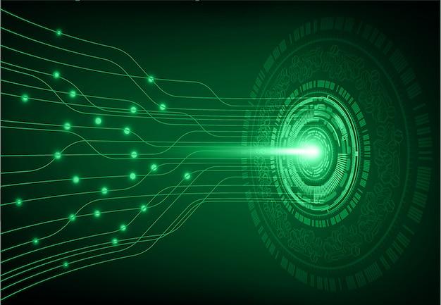 緑色の目サイバー回路将来の技術コンセプトの背景