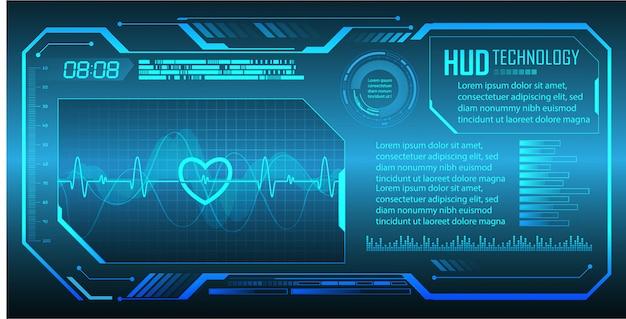 青い心電図信号付き心臓パルスモニター。ハートビート。サイバー回路の将来の技術概念の背景
