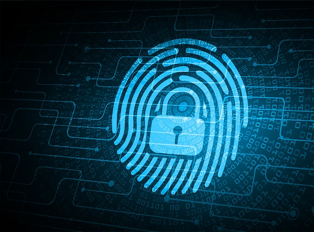指紋ネットワークサイバーセキュリティの背景。閉じた南京錠