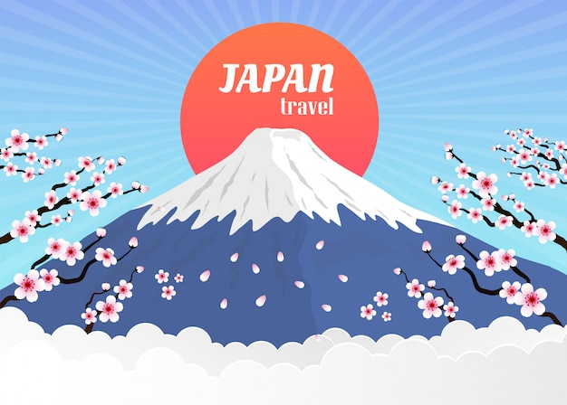 Япония пейзаж достопримечательности реалистичная композиция с восходящим солнцем гора фудзи, сакура вишни в цвету ворота иллюстрация