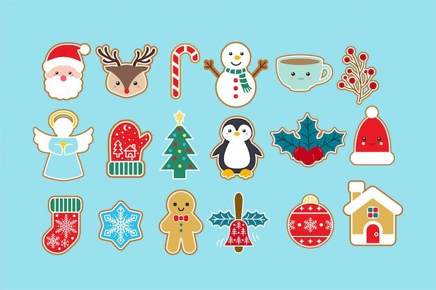 Симпатичные рождественские значок элементы набора