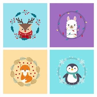 Милые животные олень, лама, лиса, пингвин с венком