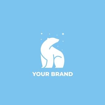Полярный медведь звезды логотип дизайн шаблона