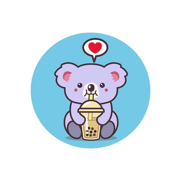 かわいいコアラがお茶を飲む