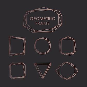 幾何学的なフレームブラックゴールドローズ