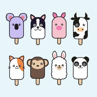 Симпатичные животные мороженое векторный набор