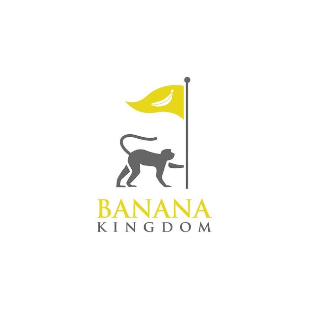Шаблон логотипа обезьяна банановое королевство